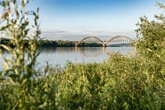 Railway bridge over the Oka River in the Nizhny Novgorod region. Russia. The picturesque landscape of Russian nature in the summe. R stock images