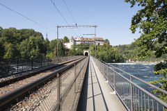 The railway bridge over The Rhine Falls, Switzerland Royalty Free Stock Photography