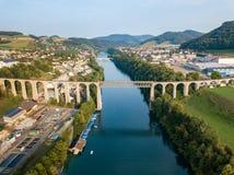 Railway bridge over the Rhine river at Swiss town Eglisau, royalty free stock photography