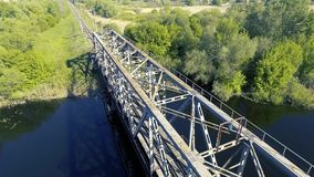 The railway bridge over the river. Aerial view stock video
