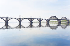 The railway bridge over the river Royalty Free Stock Photos