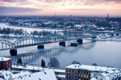 The railway bridge over the river Daugava, Latvia. East Europe stock photo