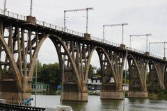 Railway bridge over the river royalty free stock photo