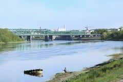 Railway bridge over the river. Stock Photo