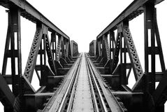Railway bridge. Historical River Kwai Bridge structure black and white color on white background Stock Photo