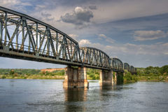 Railway bridge over the river olt, Romania Royalty Free Stock Photo