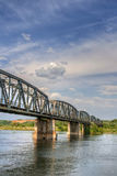 Railway bridge over the river olt, Romania Royalty Free Stock Photos