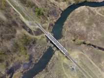 Railway bridge over the river, view from above royalty free stock images