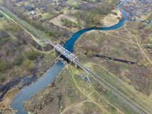 Railway bridge over the river, view from above stock photography