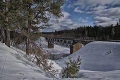 Railway bridge over the river stock images