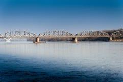 Railway bridge over the river, Torun royalty free stock photo
