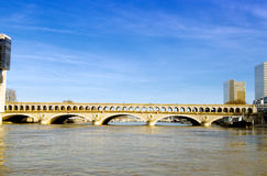 Railway bridge over the Seine in Paris Stock Photography