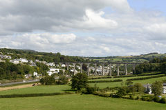 Railway bridge over Tamar at Calstock, Cornwall Stock Image