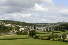 Railway bridge over Tamar at Calstock, Cornwall Stock Image