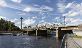 Railway bridge. Over Tammerkoski at Tampere, Finland Stock Images