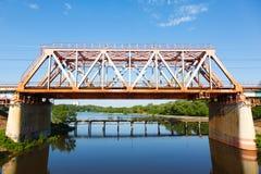Railway bridge over the water Royalty Free Stock Image