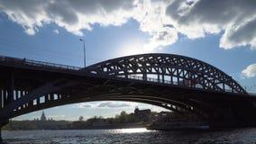 Railway bridge over a wide river stock video
