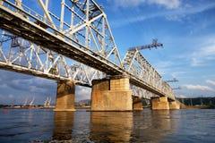 Railway bridge. Over the Yenisei River in Krasnoyarsk, Russia Stock Image