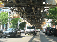 Railway bridge overhead Royalty Free Stock Image