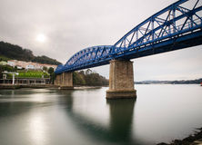 Railway bridge in Pontedeume, Galicia, Spain. Royalty Free Stock Photography