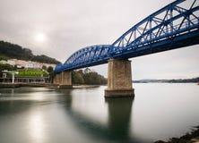 Railway bridge in Pontedeume, Galicia, Spain. Royalty Free Stock Photography