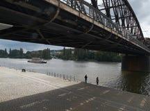 Railway bridge in Prague Stock Image
