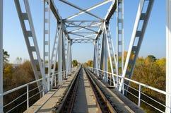 Railway bridge rails, stretching into perspective Stock Photos