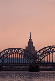 Railway bridge in Riga Royalty Free Stock Photo