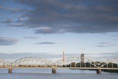 Railway Bridge and River Daugava, Riga Stock Photo
