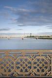 Railway Bridge and River Daugava, Riga Royalty Free Stock Images