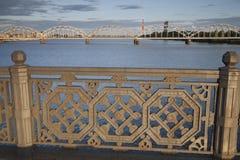 Railway Bridge and River Daugava, Riga Royalty Free Stock Image