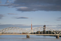 Railway Bridge and River Daugava, Riga Stock Image
