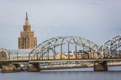 Railway Bridge and River Daugava, Riga, Latvia Royalty Free Stock Photos