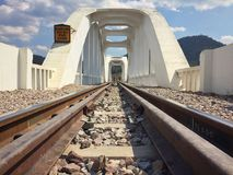 Railway bridge river at Lampang, Thailand. Royalty Free Stock Images