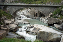 Railway bridge. And river near Andermatt in Switzerland Royalty Free Stock Images