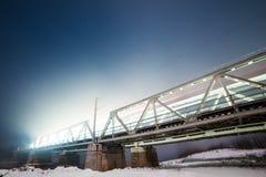Railway Bridge in Romania. This is a Railway Bridge in Romania, captured at night Stock Photography