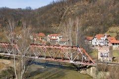 Railway bridge in a small village in Serbia Stock Photo