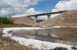 Railway bridge in South Yakutia, Russia Royalty Free Stock Photos