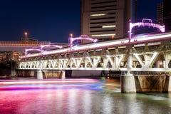 Railway bridge spanning a river at night royalty free stock image