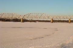Railway bridge. Spans several across the river Royalty Free Stock Image