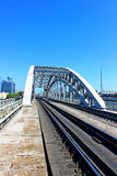 Railway bridge with steel spans Royalty Free Stock Photos