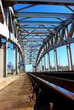 Railway bridge with steel spans Stock Images