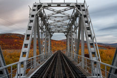 Railway bridge surrounded by autumn landscapes. Polar Urals. Russia Royalty Free Stock Photos