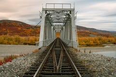 Railway bridge surrounded by autumn landscapes. Polar Urals. Russia Stock Photo