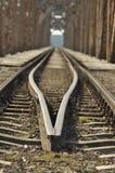 Railway bridge. Torah, steel construction. Stock Photo