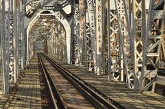 Railway bridge. Torah, steel construction. Crossing Stock Images