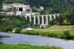 Railway bridge. And tunel near St-Ursanne Stock Images