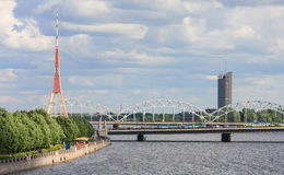 Railway Bridge and TV tower in Riga, Latvia Royalty Free Stock Photo