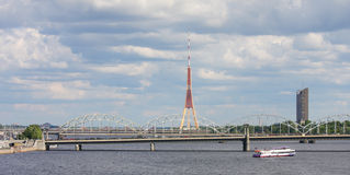 Railway Bridge and TV tower in Riga, Latvia Stock Photography