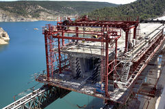 Railway bridge under construction Stock Photo